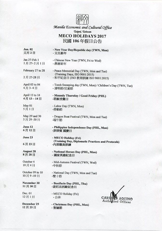 MECO Holiday Schedule
